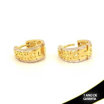 Imagem de Brinco Argola Fosca e Diamantada com Aplique de Rodio - 0210860
