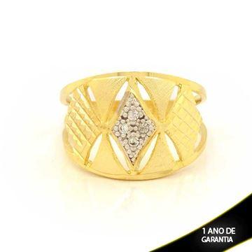 Imagem de Anel Fosco e Diamantado com Zircônias e com Aplique de Ródio - 0104614