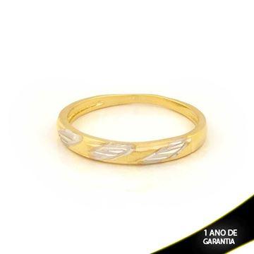 Imagem de Anel Aparador de Alianças Fosco e Diamantado com Aplique de Ródio - 0104682