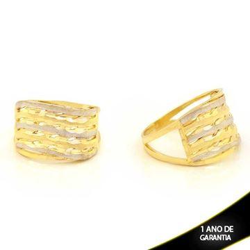 Imagem de Anel Fosco e Diamantado com Aplique de Rodio - 0104680