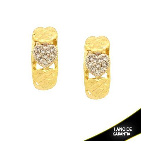Imagem de Brinco Corações Diamantados e Zircônias com Aplique de Rodio - 0210858