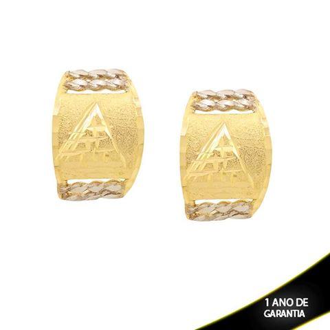 Imagem de Brinco Escrava Fosco e Diamantado com Aplique de Rodio - 0210867