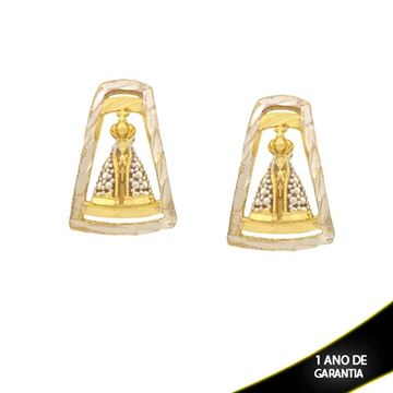 Imagem de Brinco Nossa Senhora Aparecida Diamantado com Aplique de Ródio - 0210856