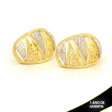 Imagem de Brinco Fosco e Diamantado com Aplique de Ródio - 0210842