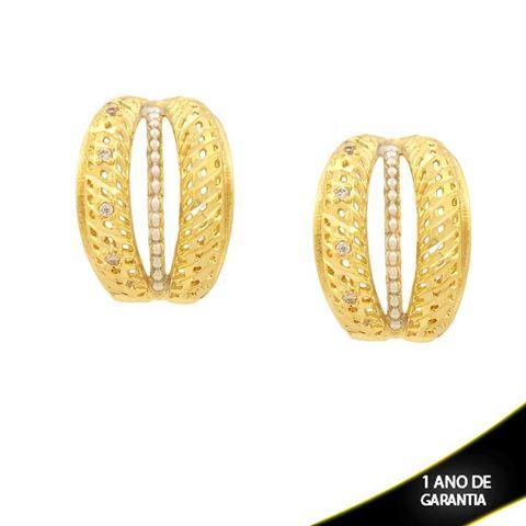 Imagem de Brinco Diamantado com Zircônias e Aplique de Rodio - 0210859