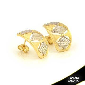 Imagem de Brinco Fosco e Diamantado com Aplique de Rodio - 0210835