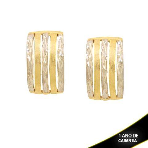 Imagem de Brinco Fosco e Diamantado com Aplique de Rodio - 0210843