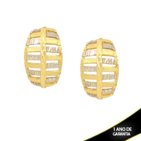 Imagem de Brinco Fosco e Diamantado com Aplique de Rodio - 0210840