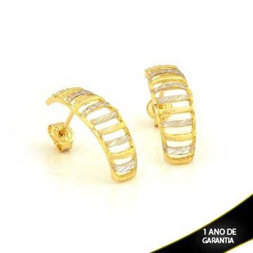 Imagem de Brinco Fosco e Diamantado com Aplique de Ródio - 0210851