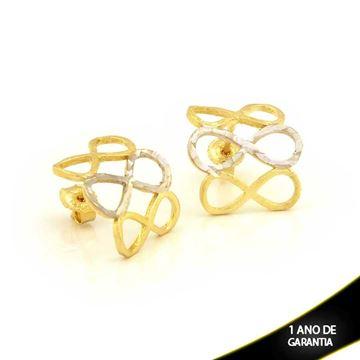 Imagem de Brinco Lixado e Diamantado com Aplique de Rodio - 0210847