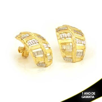 Imagem de Brinco Fosco e Diamantado com Aplique de Ródio - 0210840