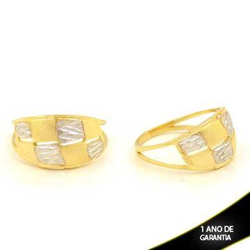 Imagem de Anel Fosco e Diamantado com Aplique de Rodio - 0104586