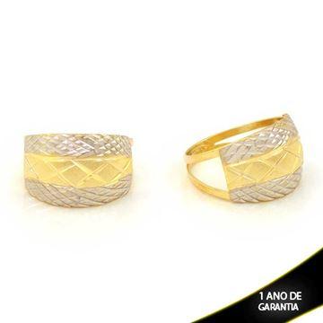 Imagem de Anel Fosco e Diamantado com Aplique de Ródio - 0104674