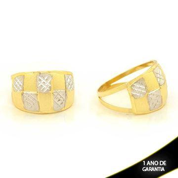 Imagem de Anel Fosco e Diamantado com Aplique de Ródio - 0104670