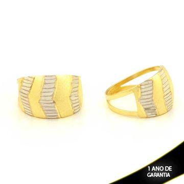 Imagem de Anel Fosco e Diamantado com Aplique de Ródio - 0104677