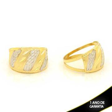 Imagem de Anel Fosco e Diamantado com Aplique de Rodio - 0104673