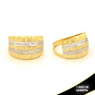Imagem de Anel Fosco e Diamantado com Aplique de Ródio - 0104675
