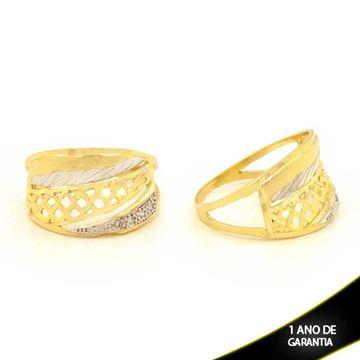 Imagem de Anel Fosco e Diamantado com Zircônias e Aplique de Rodio - 0104610