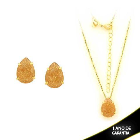 Imagem de Conjunto Gota com Pedra de Zircônia Várias Cores 45cm Mais 5cm de Extensor - 0700899