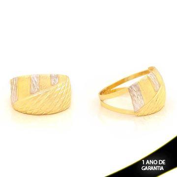 Imagem de Anel Fosco e Diamantado com Aplique de Rodio - 0104671