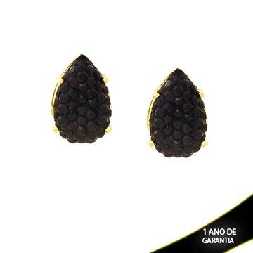Imagem de Brinco com Réplica de Pedra Drusa Preta em Gota - 0210666