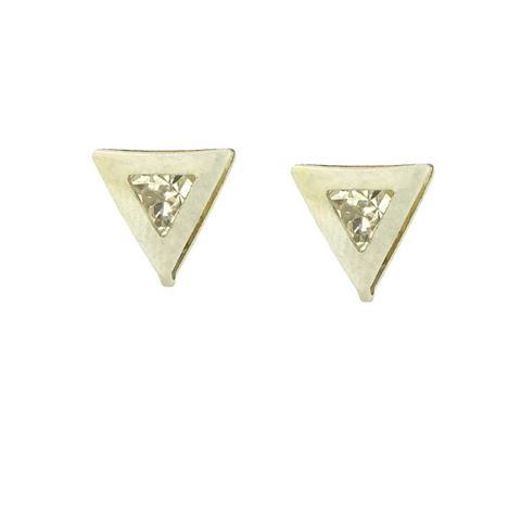 Imagem de Brinco Infantil Aço Inox Triângulo com Pedra de Strass - 0204749