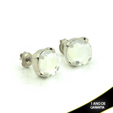 Imagem de Brinco Aço Inox com Pedra Acrílica Várias Cores - 0202168
