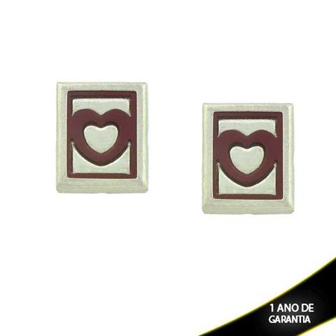Imagem de Brinco Aço Inox Quadrado Coração com Resina Várias Cores - 0202071