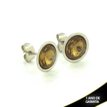 Imagem de Brinco Aço Inox com Pedra Acrílica Várias Cores - 0206275
