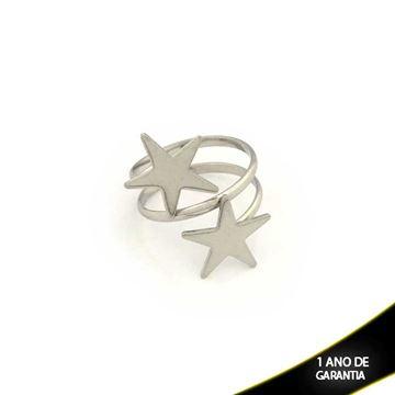 Imagem de Anel Aço Inox Estrelas Regulável - 0101189