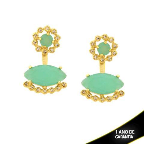 Imagem de Brinco Ear Jacket Flor com Zircônias e Pedras Várias Cores - 0210918