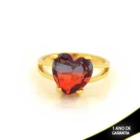 Imagem de  Anel Coração Com Pedra de Zircônia Rainbow Várias Cores - 0104701