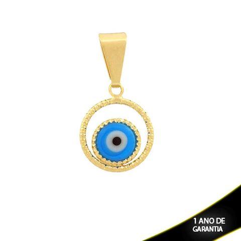 Imagem de Pingente Redondo Diamantado com Olho Grego Várias Cores - 0304157