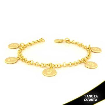 """Imagem de Pulseira Feminina com Cinco Medalhinhas Escrito """"FÉ"""" 19cm - 0503353"""