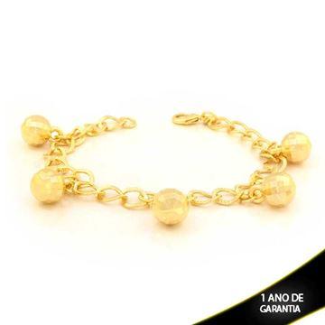 Imagem de Pulseira Feminina com Cinco Bolas Diamantadas 19cm - 0503385