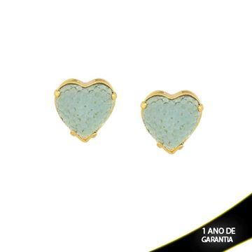 Imagem de Brinco Coração com Réplica de Pedra Drusa Várias Cores - 0208839