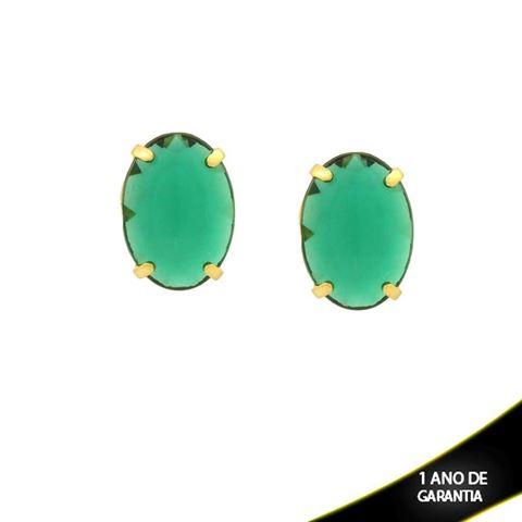 Imagem de  Brinco Oval com Pedra Acrílica Várias Cores - 0210672