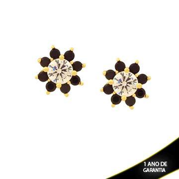 Imagem de  Brinco Flor com Pedras de Zircônias Várias Cores - 0209991