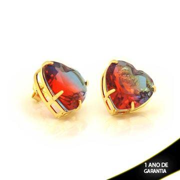 Imagem de  Brinco Coração com Pedra Rainbow - 0211008