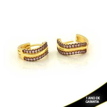 Imagem de Brinco Argola com Duas Fileiras de Zircônias Rosa e Branco - 0211152