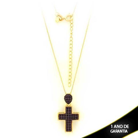 Imagem de Corrente Feminina com Cruz de Zircônias 45cm Mais 5cm de Extensor - 0403196