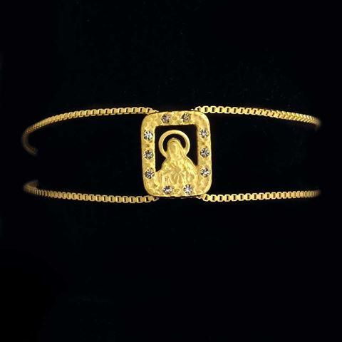 Imagem de Pulseira Feminina Fio Italiano 1mm com Sagrado Coração de Maria e Strass em Volta 18cm - 0502966