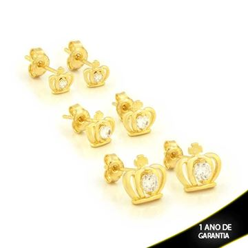 Imagem de Brinco Trio de Coroa com Uma Pedra de Zircônia - 0211144