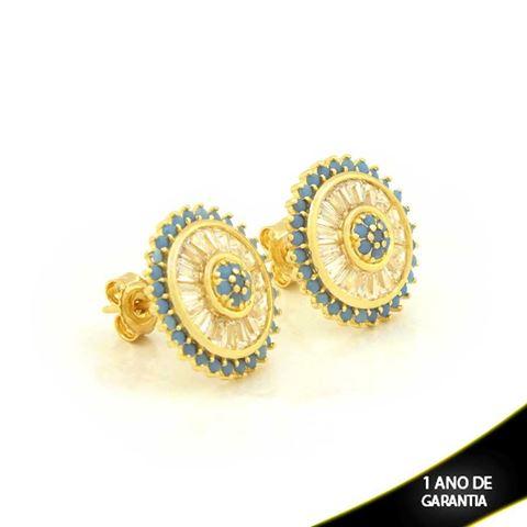 Imagem de Brinco Pizza com Zircônias Azul Tiffany - 0209996