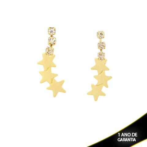 Imagem de Brinco Três Strass e Três Estrelas - 0209573