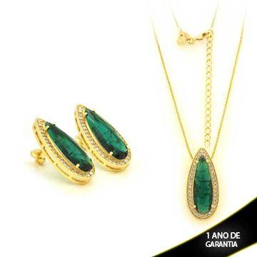 Imagem de Conjunto Gota com Pedra Natural Preta ou Verde 40cm + 5cm de Extensor - 0700922