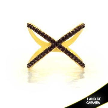 Imagem de Anel em X com Zircônias Pretas e Aplique de Rodio - 0104725