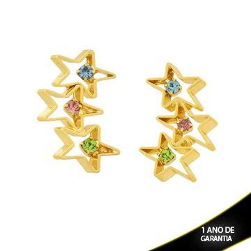 Imagem de Brinco com Três Estrelas e Strass - 0206371