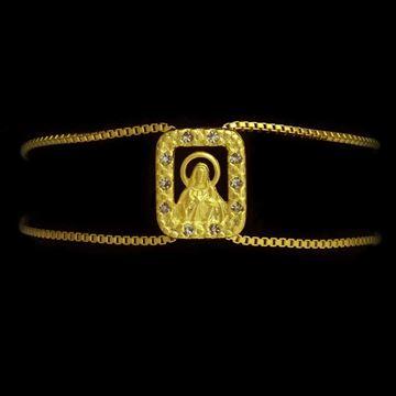 Imagem de Pulseira Feminina Fio Italiano 1mm com Sagrado Coração de Jesus e Strass em Volta 18cm - 0502967