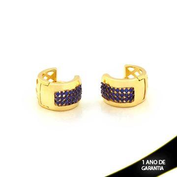 Imagem de Brinco Argola Click com Zircônias Azul ou Rosa com aplique de Ródio- 0211243